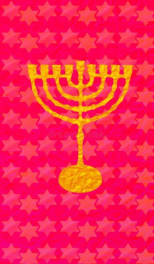Hanukkah Gold Menorah candlestick David stars red pattern. Hanukkah Gold Menorah Jewish Holiday, candlestick on red background. Vertical format for Greeting card royalty free illustration