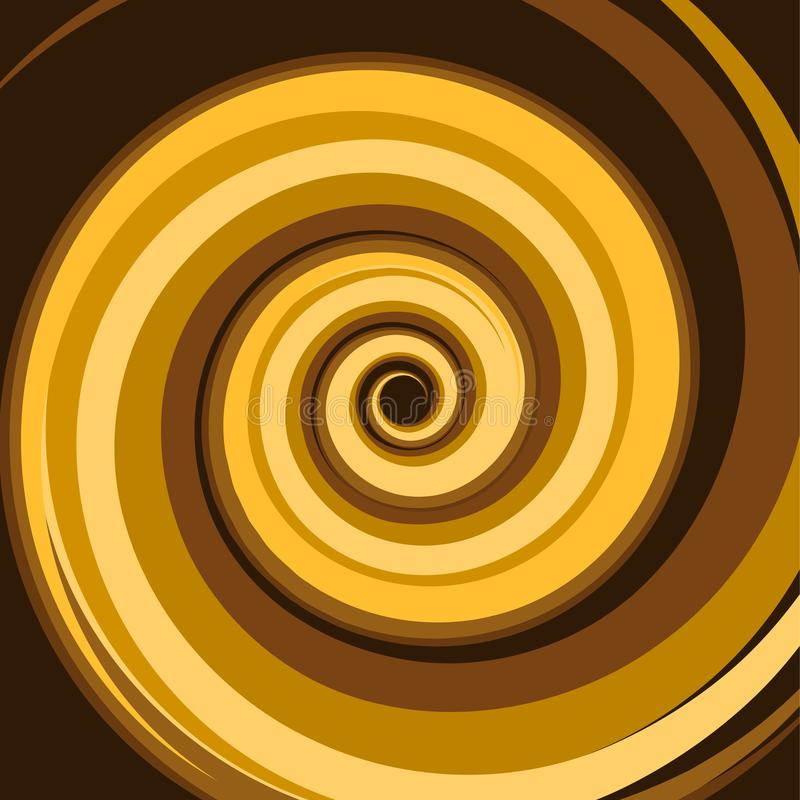 Gold Caramel Colored Twirl Spiral. Abstract Background. Vector. Illustration stock illustration