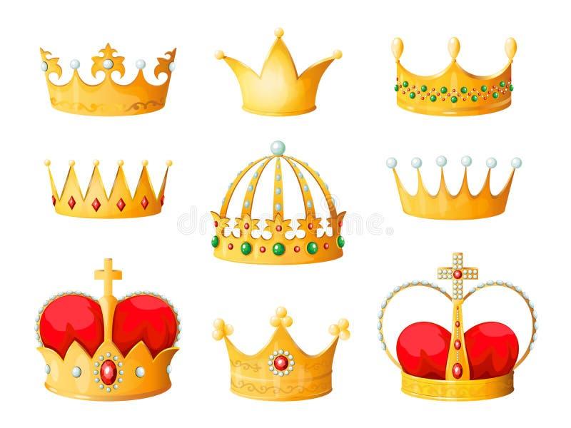 Gold cartoon crown. Golden yellow emperor prince queen crowns diamond coronation tiara crowning emojis corona isolated stock illustration