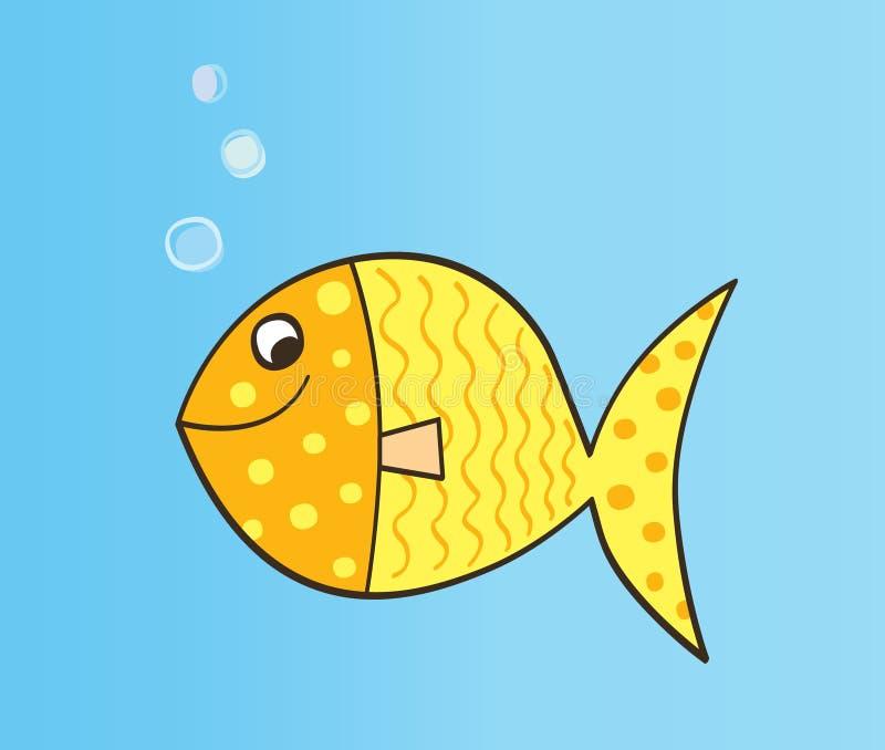 Gold cartoon fish vector illustration