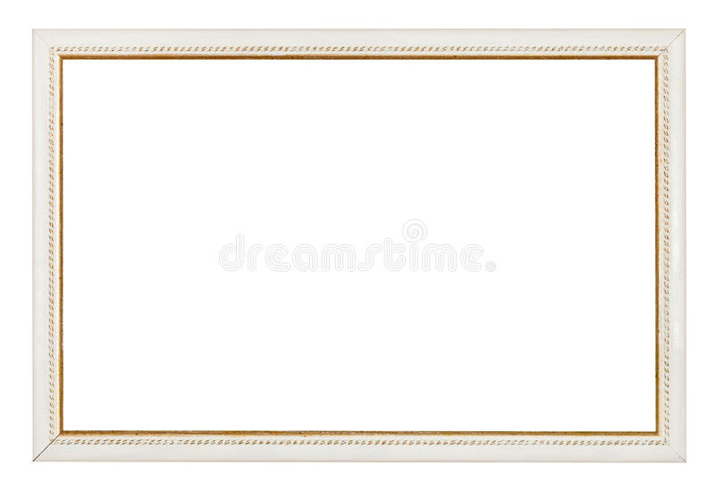 Gold carved narrow white picture frame royalty free stock photos