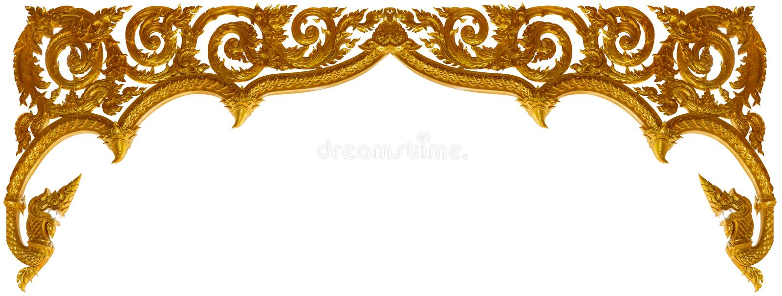 Gold carved ornament frame art isolated on white background.  royalty free stock photo