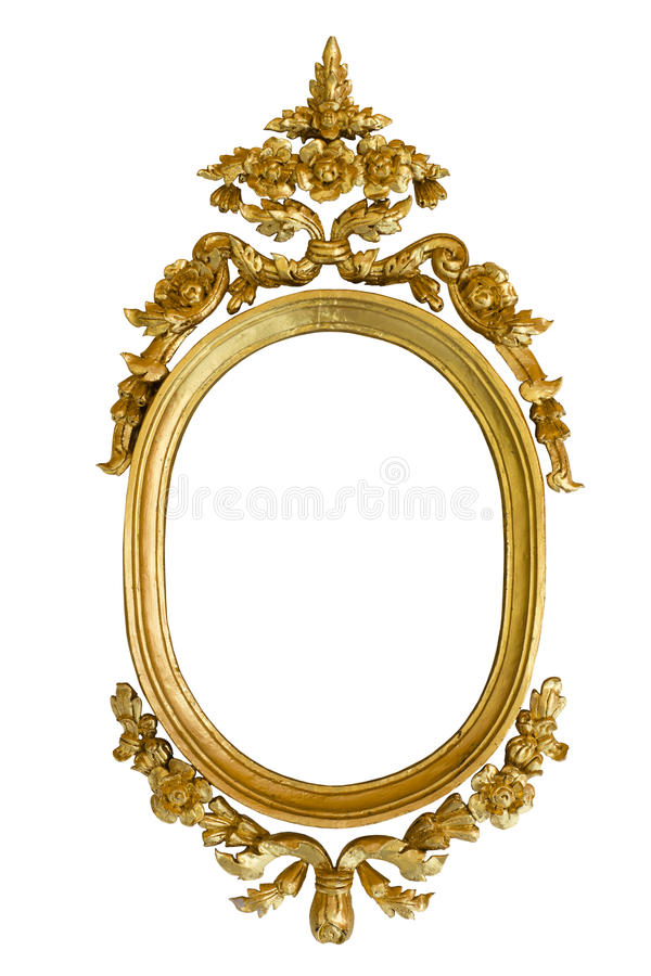 Gold carved oval wood frame isolated. On white background royalty free stock photo