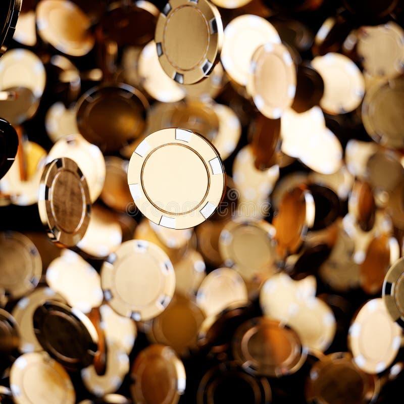 Gold casino poker chips flying stock illustration