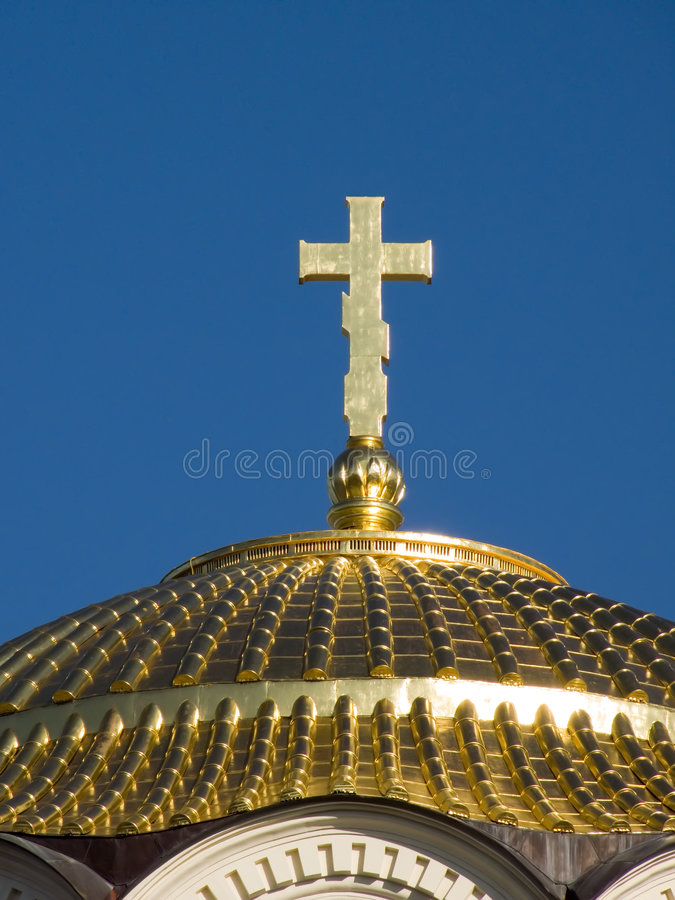 Gold cathedral dome royalty free stock photo