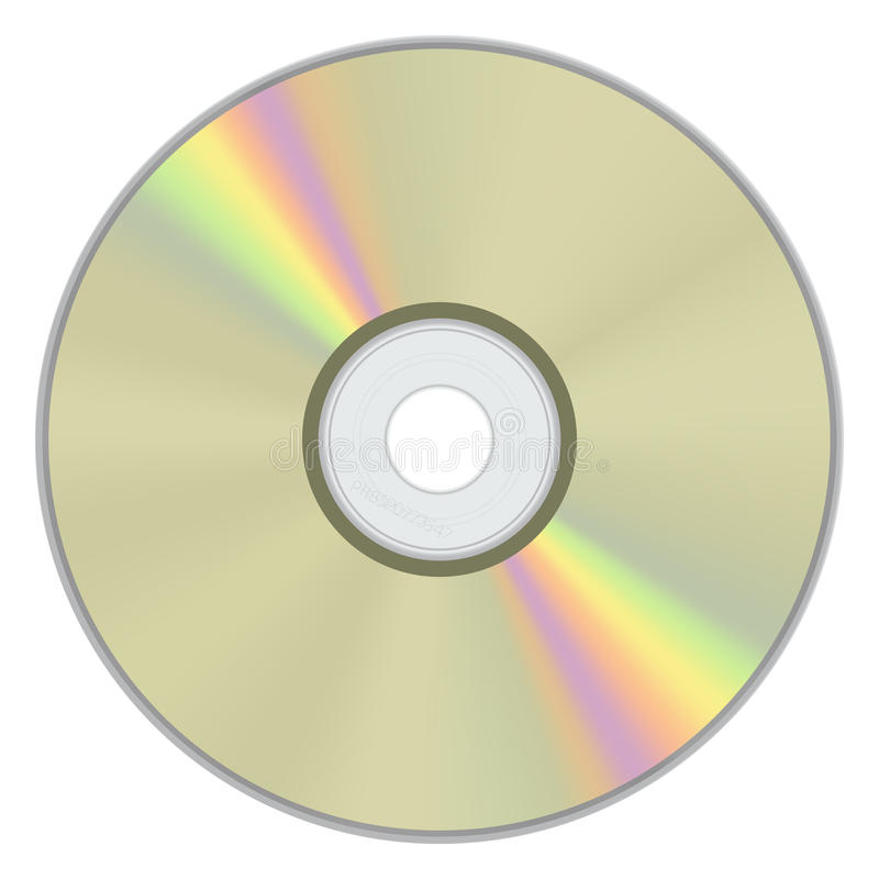 Gold CD Disk with rainbow color vector illustration