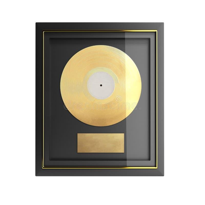 Gold CD prize with label 3d render. Image vector illustration