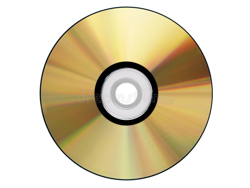 Gold Cdrom isolated. On white royalty free stock images