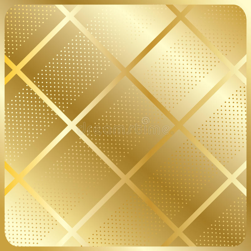Gold cells abstract background vector. Gold cage on gold metallic with polka dots background. For Design crafts, fabrics, decorating, web, print textures. Vector stock illustration