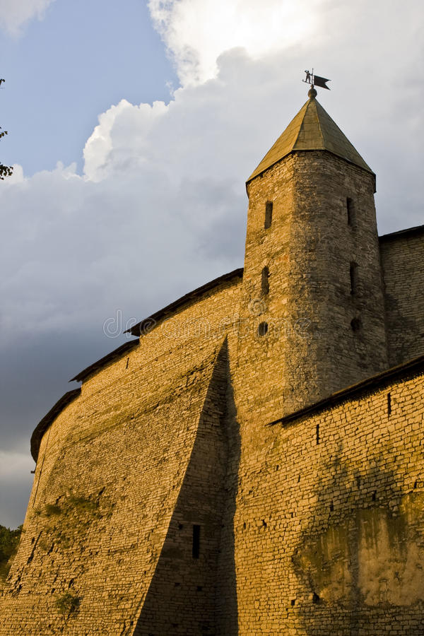 The Gold of Centuries (A Tower of Pskov Kremlin) royalty free stock images