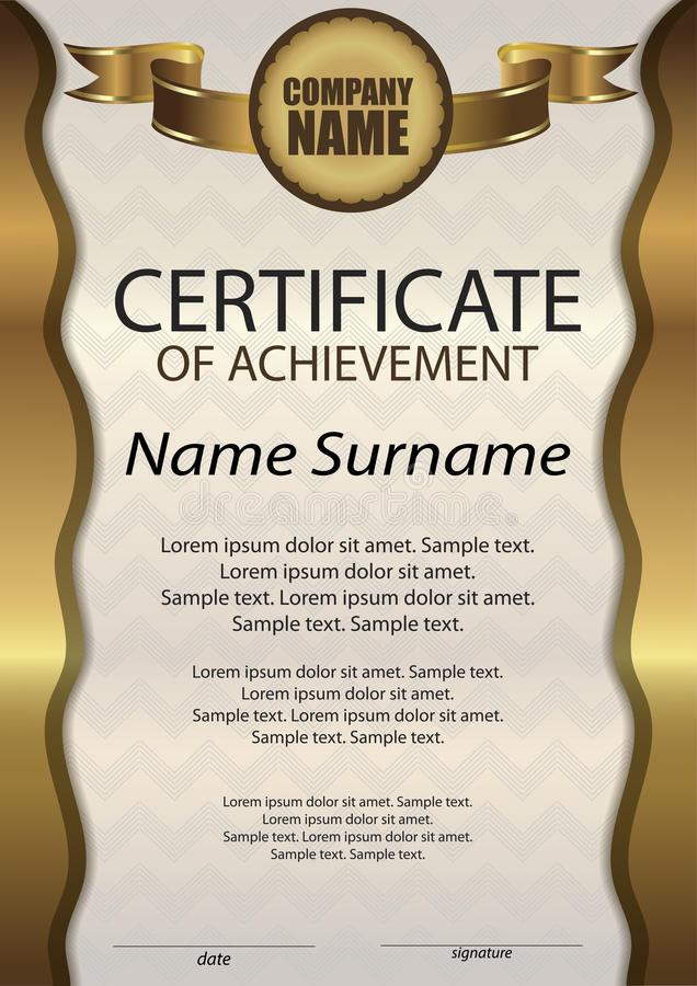 Gold certificate of achievement or diploma template vertical download gold certificate of achievement or diploma template vertical stock vector illustration of yadclub Image collections