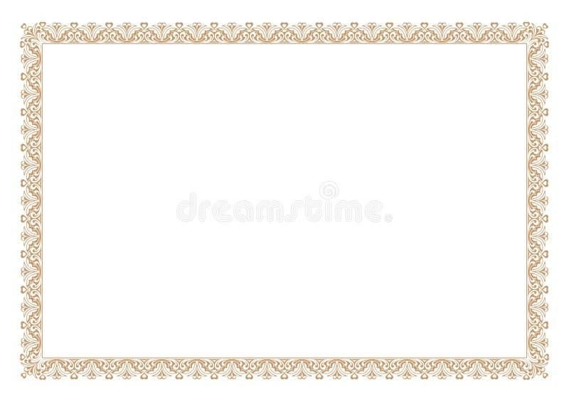Gold Certificate of Appreciation Border vector illustration