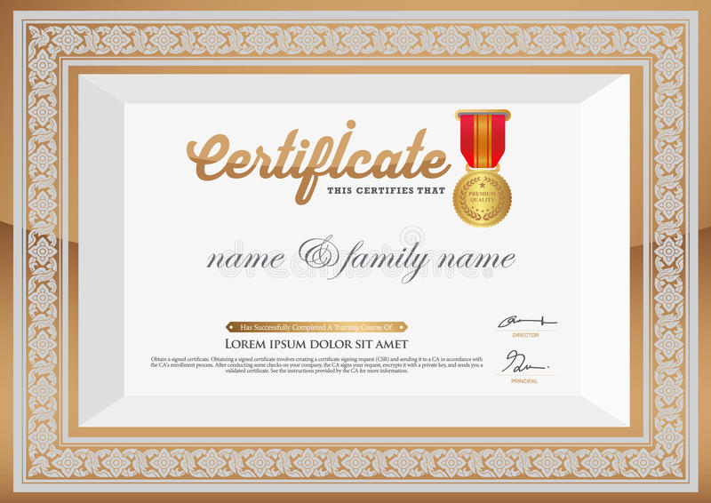 Gold certificate of completion template thai art element stock download gold certificate of completion template thai art element stock vector illustration of graduation yelopaper Image collections