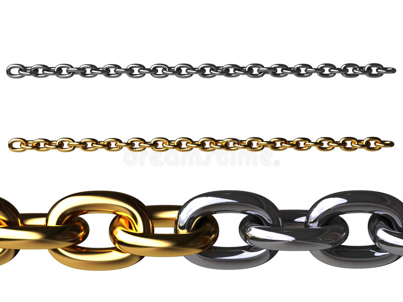 Gold chain and chromeplated chain vector illustration
