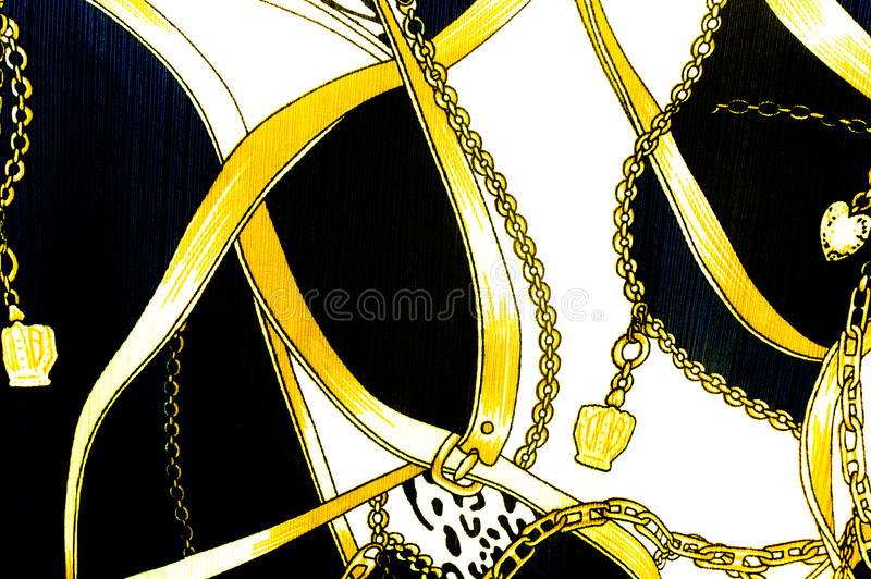 Gold chain looped heart pattern.For art texture or web design a stock photo
