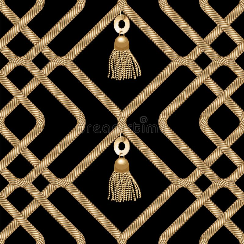 Gold chain seamless on black background. Fashion illustration. Seamless pattern abstract design. Vector royalty free illustration