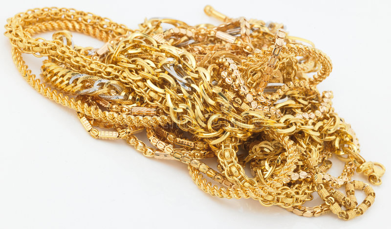 Gold chains stock photo