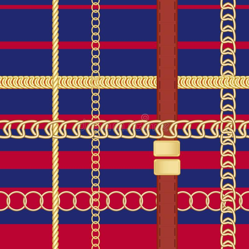 Gold chains and belts seamless patterns for fabric design. royalty free illustration