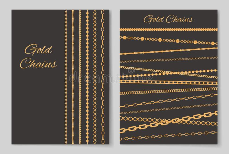 Gold Chains Collection Cover Vector Illustration. Gold chains, collection of covers, posters made up of jewel items and headlines in decorative fonts, vector stock illustration