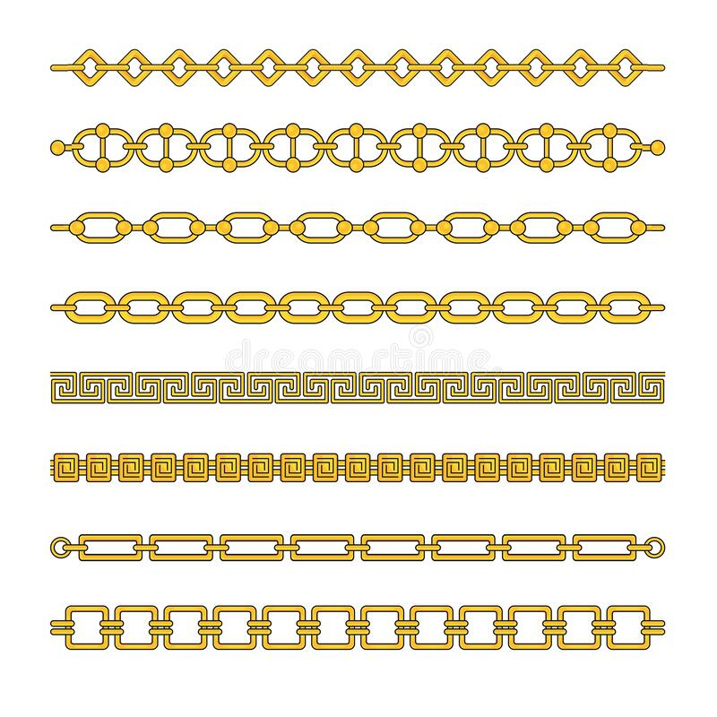 Gold chains with different weaving. Expensive gold jewelry. royalty free stock image
