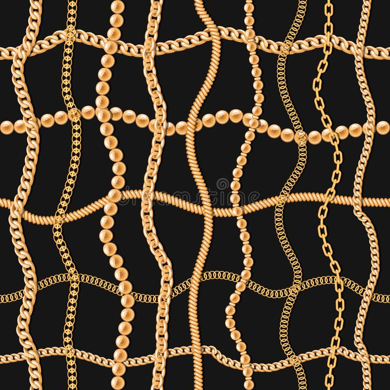 Free Gold Chains Luxury Seamless Pattern. For Textile, Scarf, Cravat Design. Vector Stock Images - 139184034