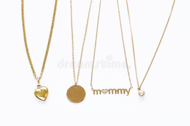 Gold chains necklaces stock image image of shape jewelry 113997401 download gold chains necklaces stock image image of shape jewelry 113997401 aloadofball Choice Image
