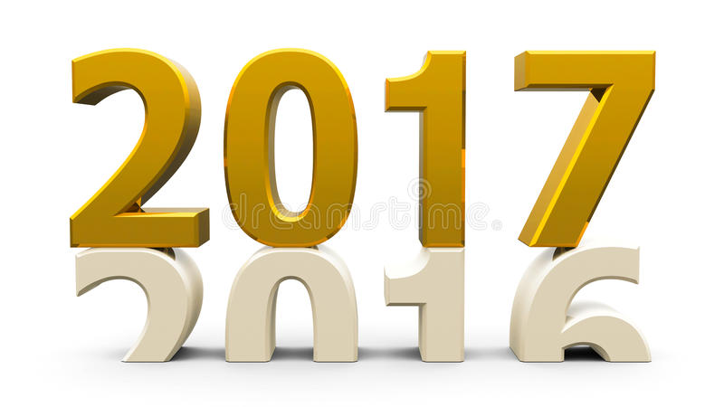 2016-2017 gold. 2016-2017 change represents the new year 2017, three-dimensional rendering