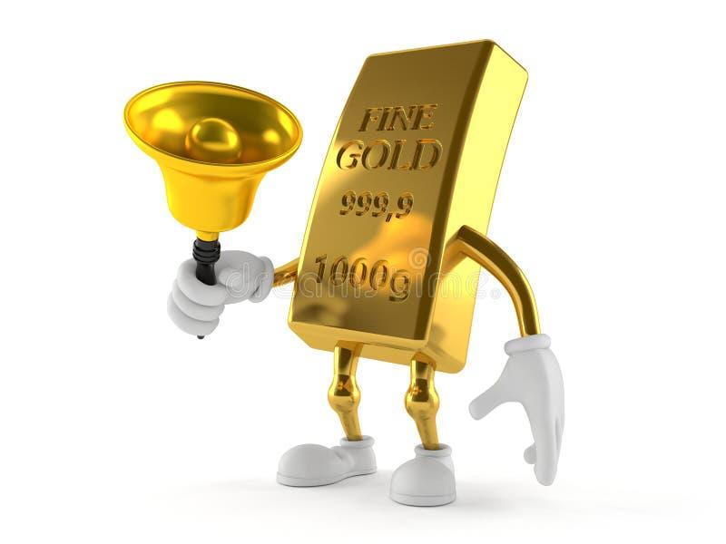 Gold character ringing a handbell royalty free illustration