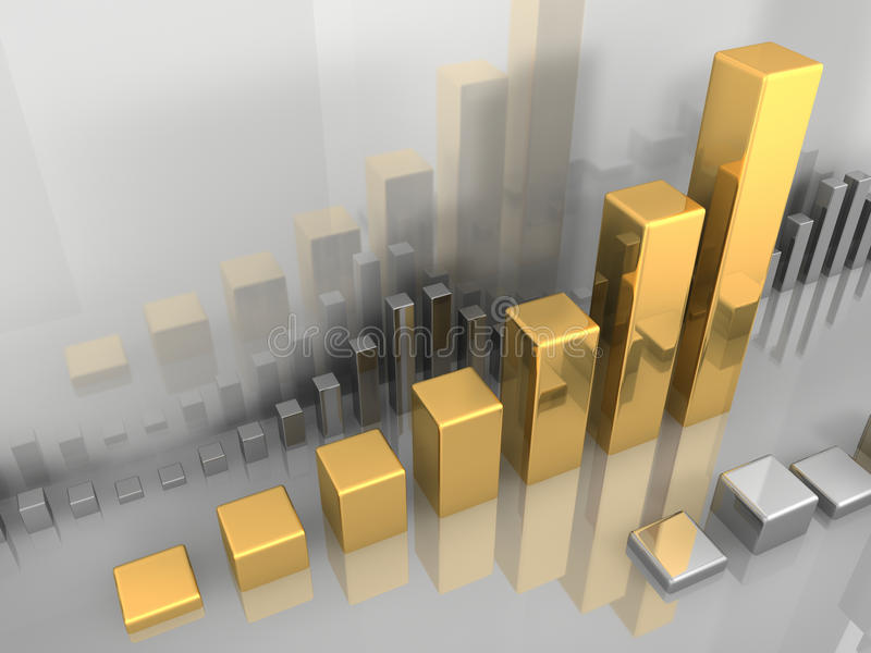 Gold Chart. Abstract visualization of stock market chart, gold and silver, 3d illustration royalty free illustration
