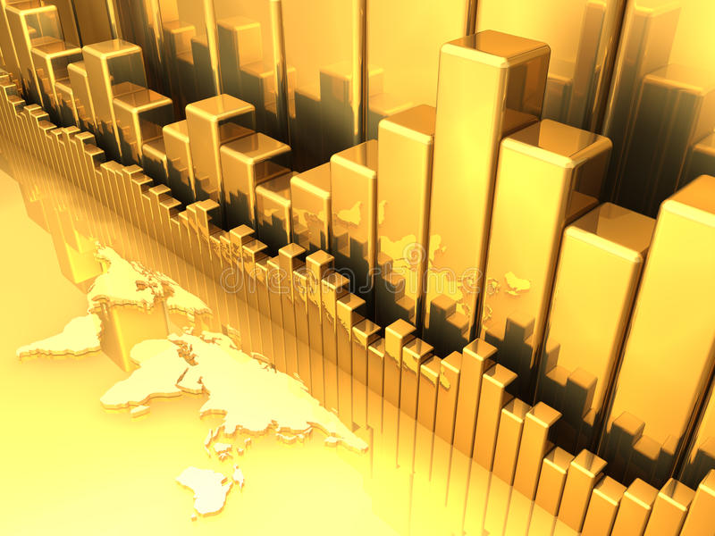 Gold Chart 3. Gold chart variations with earth map. All in gold stock illustration
