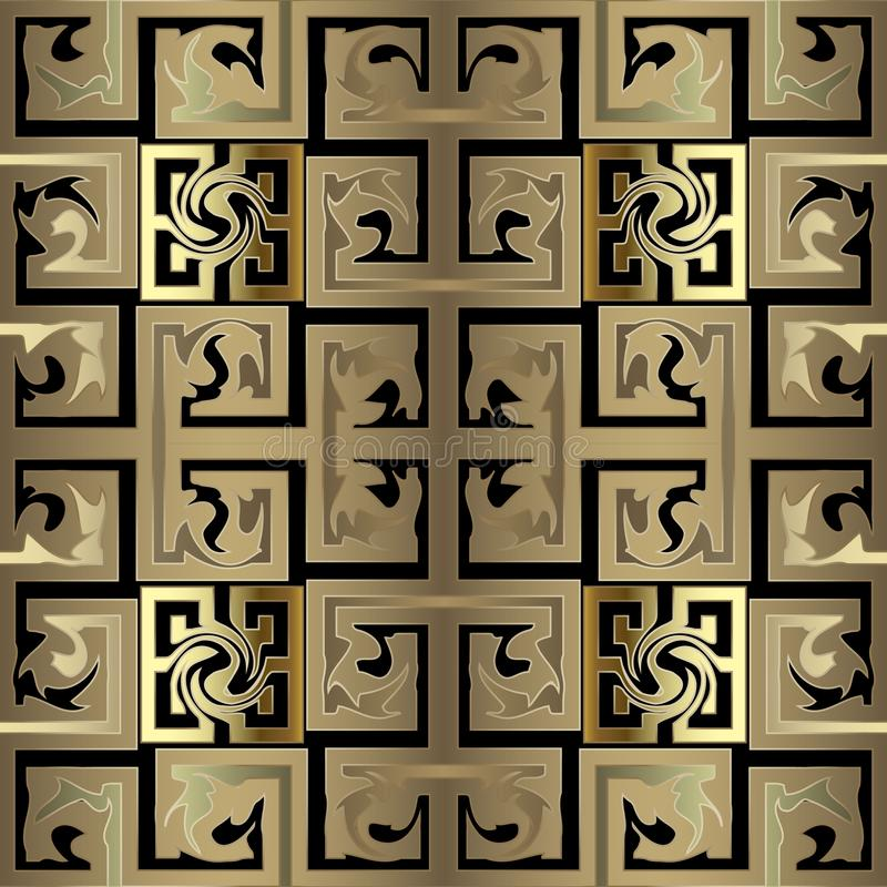 Gold checkered abstract old celtic style greek 3d vector seamless pattern. Ornate geometric interesting background. Creative stock illustration