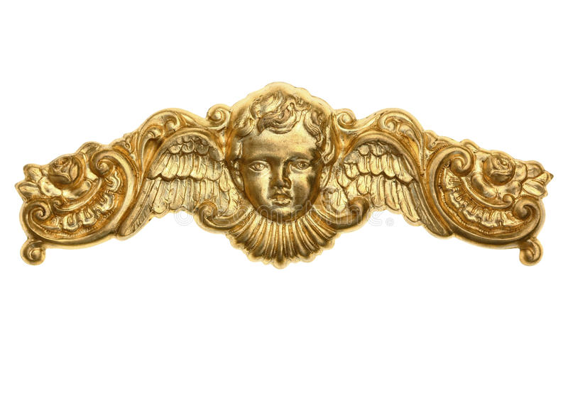 Gold Cherub Crown Ornament. For Photo Corners and Crowns. Isolated on White royalty free stock image