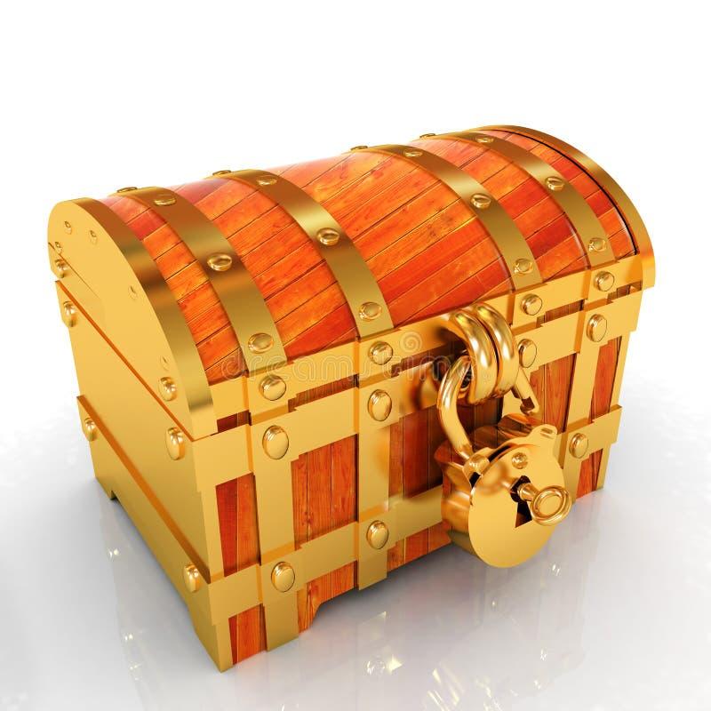Gold chest. 3d render royalty free illustration