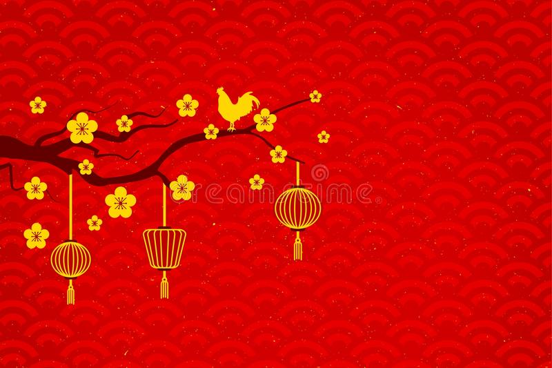 Gold Chicken on tree flower royalty free stock photos