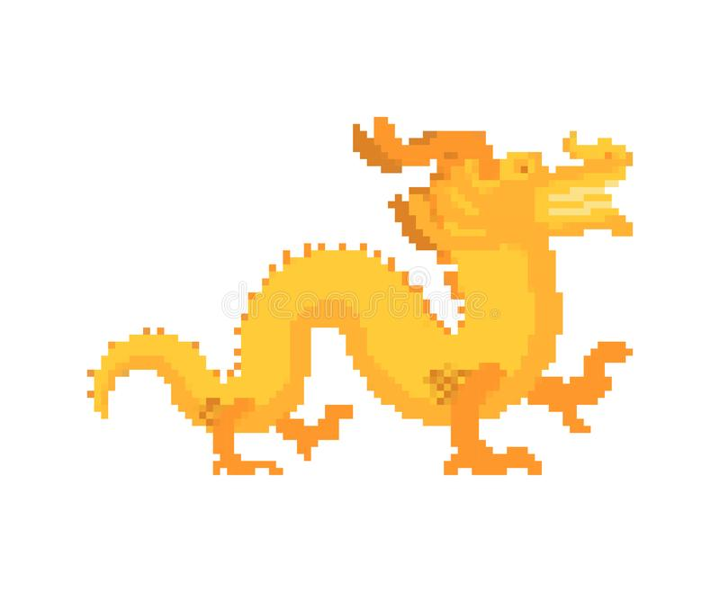 Gold Chinese dragon pixelkunst Golden japans mythisch monster Nationale vectorillustratie van het folkbeest stock illustratie
