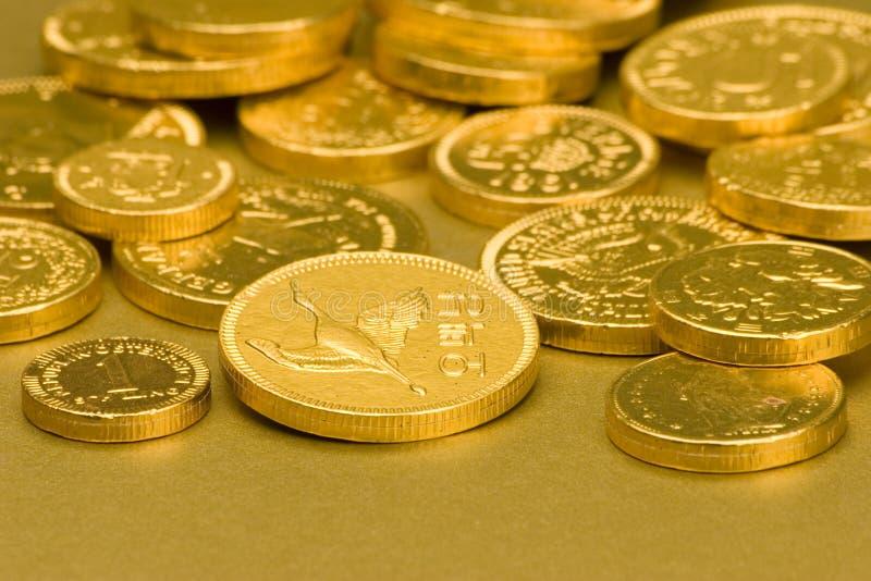 Gold Chocolate Coins stock photos