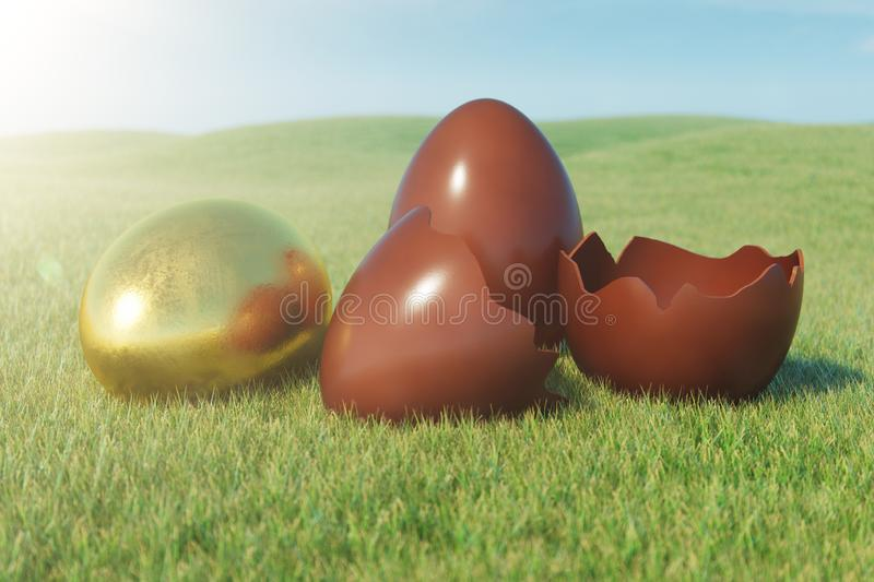 Gold and chocolate eggs in a meadow on a sunny day against the blue sky. Easter eggs on grass, lawn. Concept easter eggs royalty free stock photos