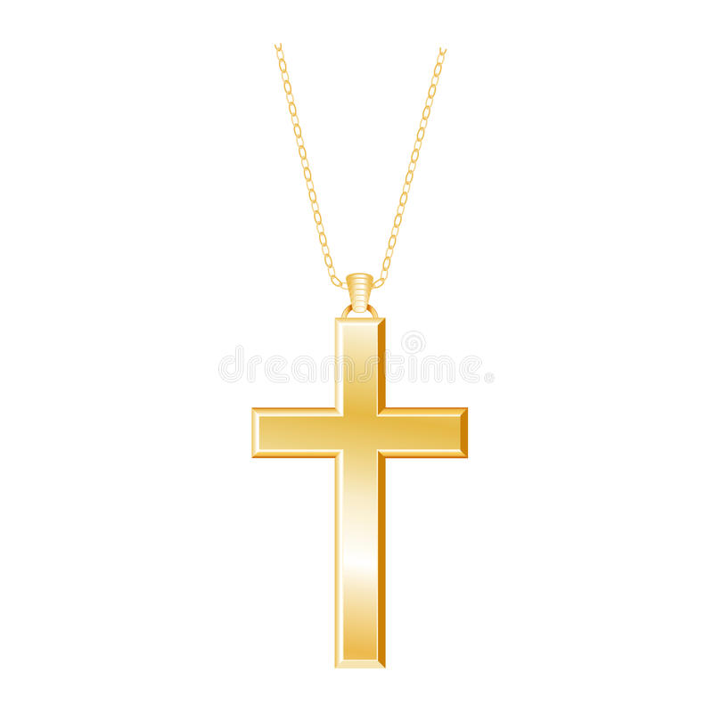Gold Christian Cross And Chain Stock Vector Illustration Of