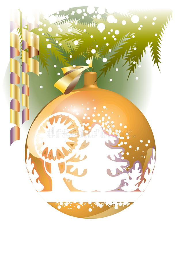 Download Gold Christmas ball stock illustration. Illustration of illustration - 21975090