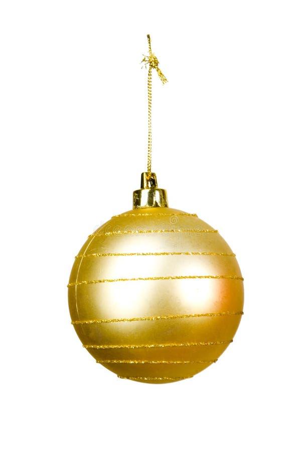Gold christmas ball. On white ground stock photos