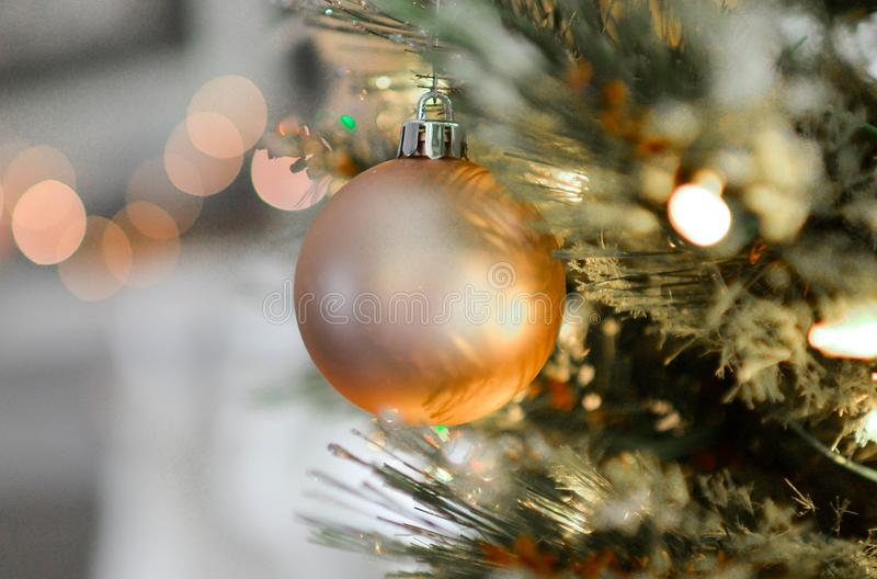 Gold Christmas Ball Decor royalty free stock image