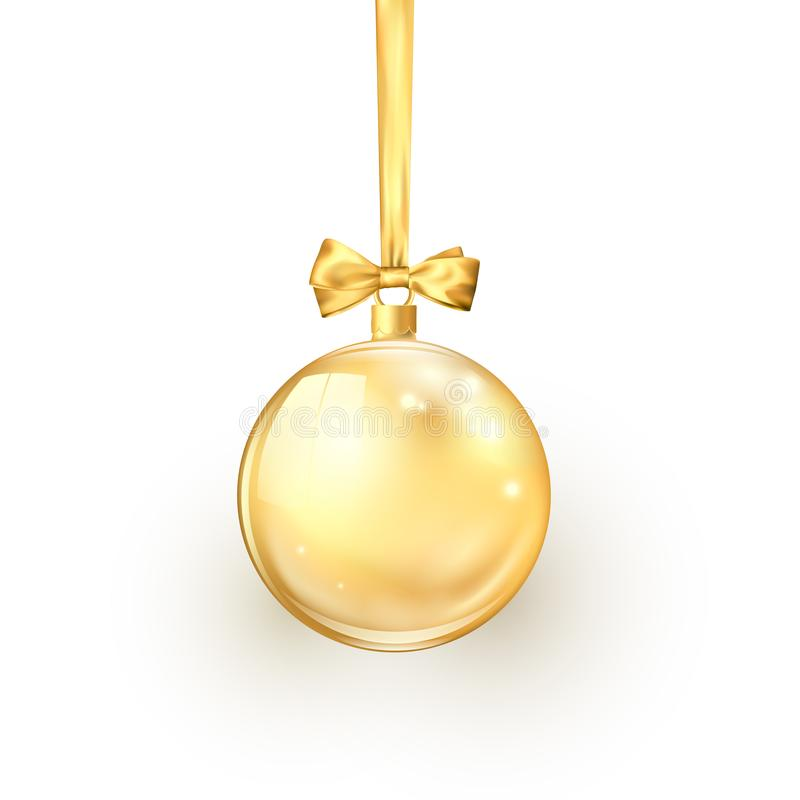 Gold Christmas ball with golden silk ribbon and bow. Element of holiday decoration. Vector illustration isolated on white. Background stock illustration