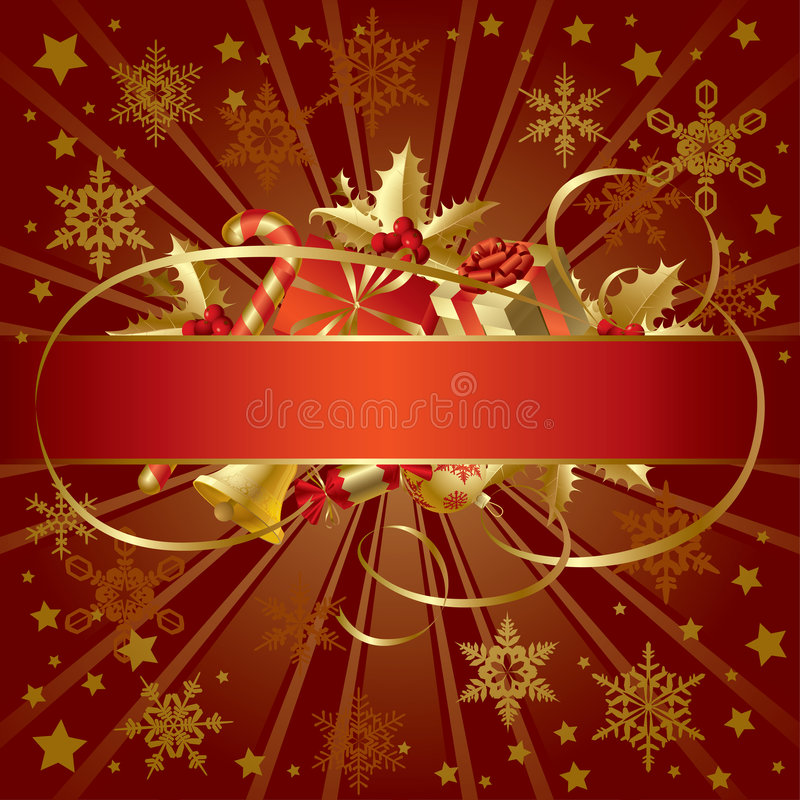 Gold Christmas banner vector illustration