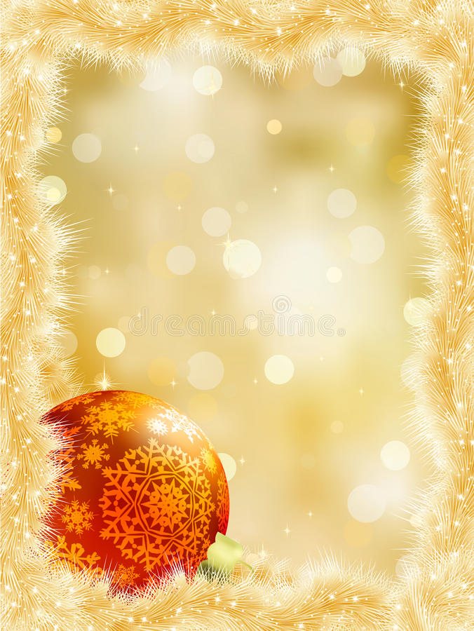 Gold Christmas Card With Copy Sace. EPS 8 Stock Images