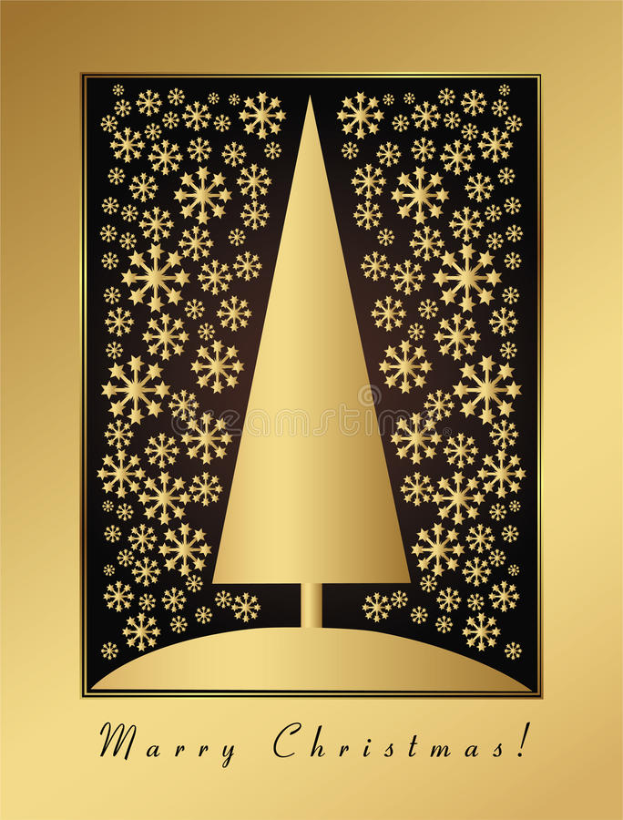 Gold christmas card with new year eve and ornament stock illustration