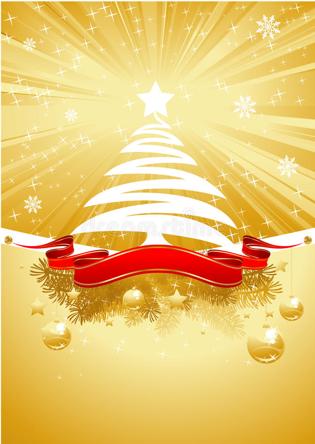 Free Gold Christmas Card With Christmas Tree Stock Photo - 17050450