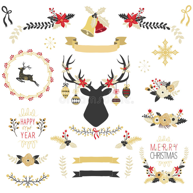 Gold Christmas Elements royalty free illustration