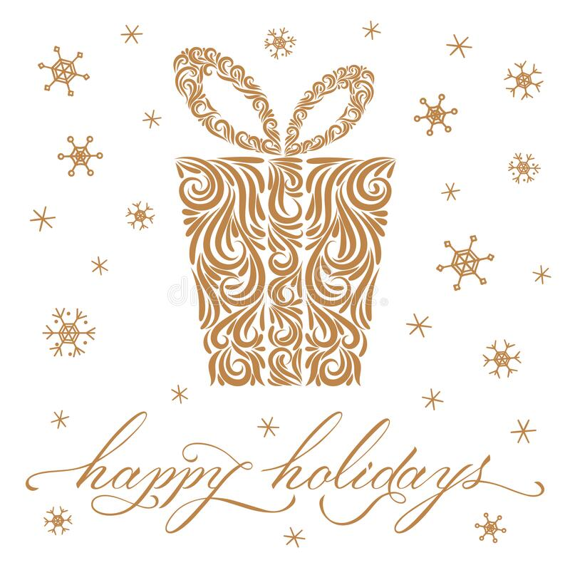 Free Gold Christmas Gift From Ornament Elements, Happy Holidays Lettering, Snowflakes. Line Drawn. Merry Christmas. New Year. Template Stock Photo - 187644500