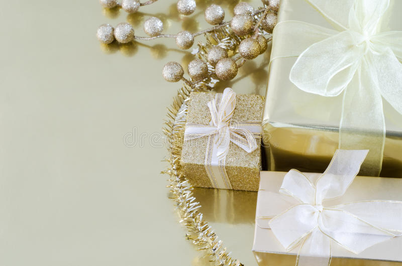 Gold Christmas Gifts stock photo