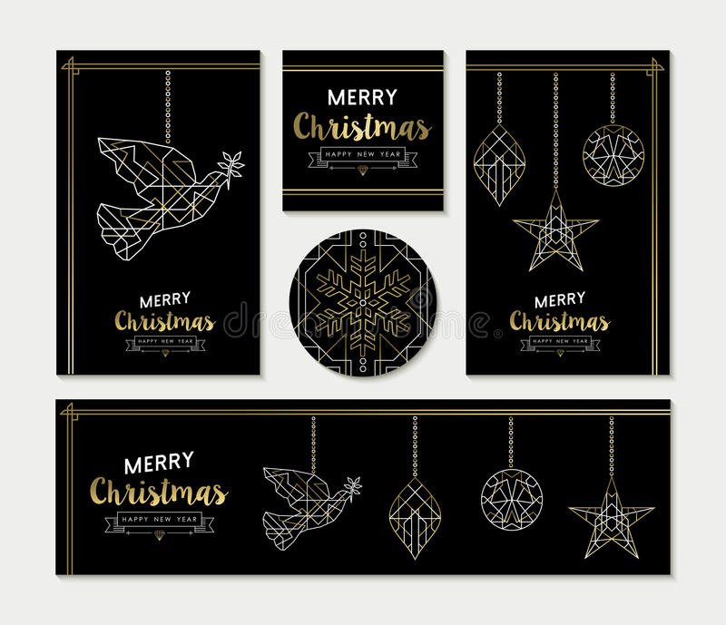 Gold Christmas greeting card template set. Set of merry Christmas Happy New Year greeting card template design. Xmas ornaments in line art deco style, white and stock illustration